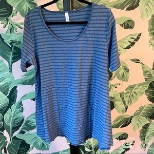 LuLaRoe Large Blue-Grey Stripe Perfect T